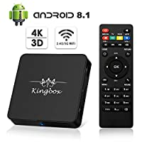 Kingbox Android TV Box 8.1, Model X Android Box with 2GB RAM 16GB ROM Quad-Core Support Dual-Band WiFi 2.4G+5G / 4K / 3D / H.265 Smart TV Box (2018 Update Version)