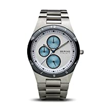 BERING Time Men's Ceramic Collection Watch with Chrome Link Band and scratch resistant sapphire crystal. Designed in Denmark. 32339-707