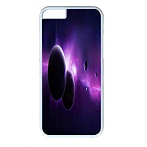Outer Space Design PC White Case for Iphone 6 Black and Purple