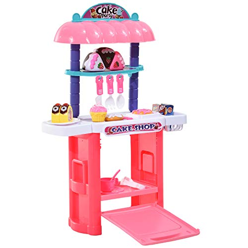 HOMCOM 20 Piece Pretend Play Kitchen and Oven Set Cake Shop with Cakes, Donut, Forks