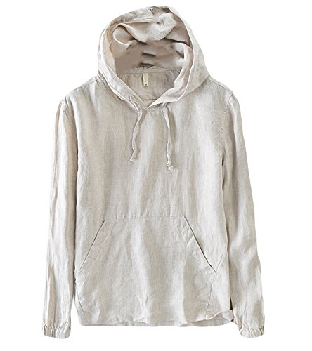 Casual Long Sleevel Sweatshirts for Men Lightweight Hoodie Fashion Linen Pullover Shirts Solid Khaki XL (Long Linen Pullover)