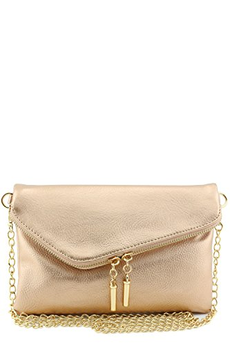 Envelope Wristlet Clutch Crossbody Bag with Chain Strap (Champagne)