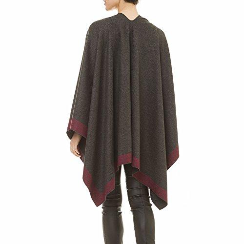 Cardigan Poncho Cape: Women Elegant Gray Purple Reversible Cardigan Shawl Wrap Sweater Coat for Winter (Gray Purple)