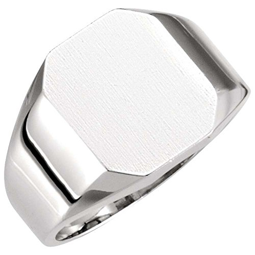 12.00x10.00 mm Octagon Signet Ring in 14K White Gold ( Size 6 ) (Gold White Signet Ring Octagon)