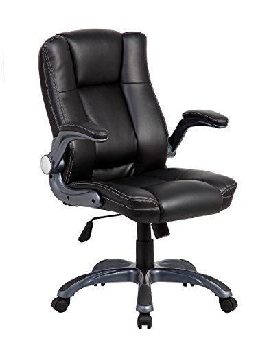 Techni Mobili Medium Back Manager Chair with Flip-up Arms in Black
