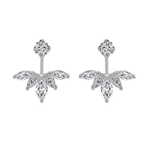 megko 925 Sterling Silver Cubic Zirconia Earrings Leaf Feather Ear Jacket Front Back Ear Cuffs Stud Earring(silver)