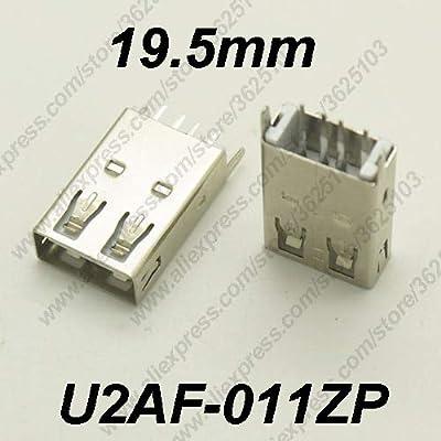 Gimax 10PCS USB 2.0 Connector H=19.5MM Straight Feet Charging Socket USB 2.0 Female Jack Data Transmission U2AF-011Z/U2AF-011ZP