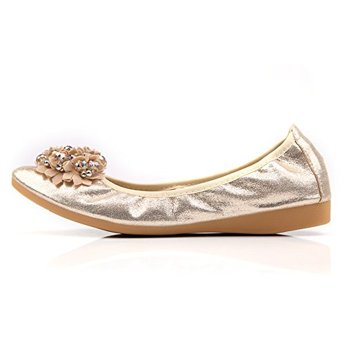 Shoes Foldable 03 Rhinestone Comfort Gold Soft Slip Ballet Toe Womens Pointed Meeshine Flats Flat on wfZUq7na
