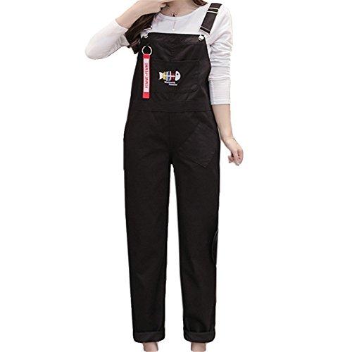 給料包帯特権CAIXINGYI 薄い 黒 刺繍 女性 サロペットパンツ 韓風 学生 オーバーオール ズボン