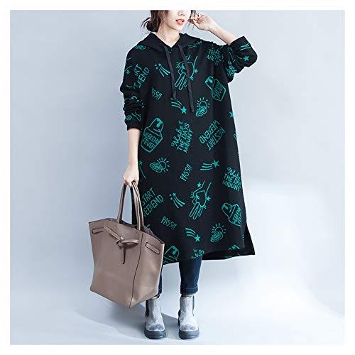 autunno spessa stampa Black di grandi lunga e Gonna sheng inverno Ju velluto maglione dimensioni in con a A6qxHwtZa