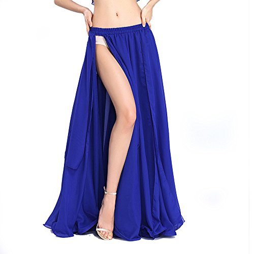ROYAL SMEELA Chiffon Fairy Belly Dance Skirt Women, Dark Blue Tribal Belly Dancing Skirts High Split, One Size, 11Colors]()