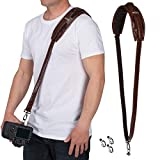 Movo MP-SS5 V2 Vintage Rapid Camera Sling Strap with Quick Release Clip, Padded Shoulder Strap, Bonus Lens Cap Holders (Simulated Leather)
