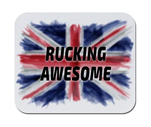 Makoroni - Rucking Awesome British, England, United Kingdom Flag- Non-Slip Rubber Mousepad, Gaming Office Mousepad