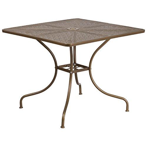 Flash Furniture 35.5'' Square Gold Indoor-Outdoor Steel Patio -