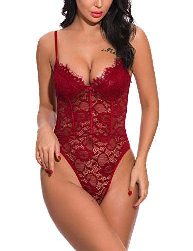 PAMI Women Teddy Lingerie One Piece Babydoll Unique Edging for Mini Bodysuit ChemisesWine Red X-Large