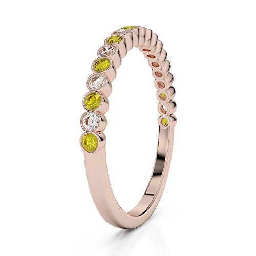 Or Rose 18carats 0,18CT G-H/VS Certifié Round Cut Saphir Jaune et diamants Agdr-1101