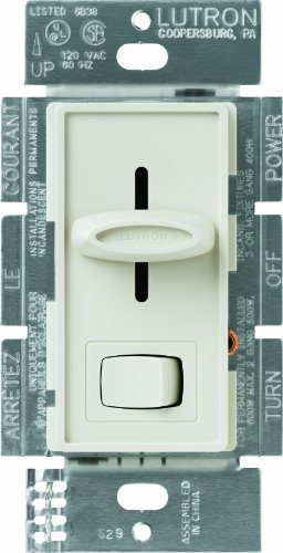 Lutron SFSQ-LF-LA Skylark 1.5 Amp Single-Pole 3-Speed Slide-to-off Fan and Light Control, Light Almond