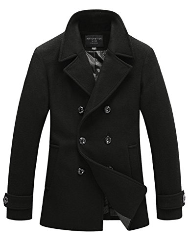 Match Mens Wool Blend Classic Pea Coat Winter Coats(010, Black Small)