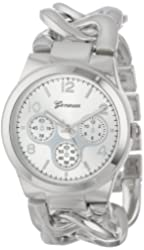 Geneva Women's 2380-Silver-GEN Oversized Interlocked Chain Band Watch