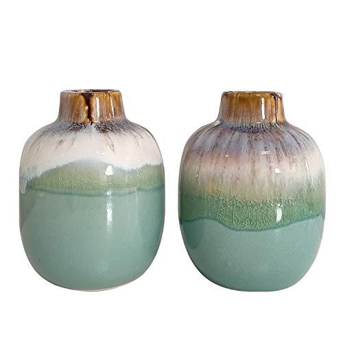 Senliart Teal Ceramic Vase for Home Décor, Small Flower Vase 3.8 x 4.8 - Set of 2 (Vases Ceramic Green)
