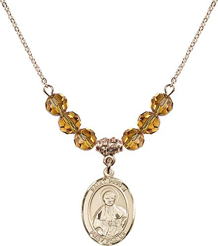 Bonyak Jewelry 18 Inch Hamilton Gold Plated Necklace w/ 6mm Yellow November Birth Month Stone Beads and Saint Pius X ()