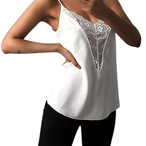 LuluZanm V Neck Vest Tops for Women,Sale Ladies Casual Lace Patchwork Sleeveless Tunic Tops Loose Cami Blouse White