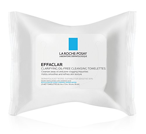 La Roche-Posay Effaclar Clarifying Oil-Free Cleansing Towelettes Facial Wipes, 25 ct.