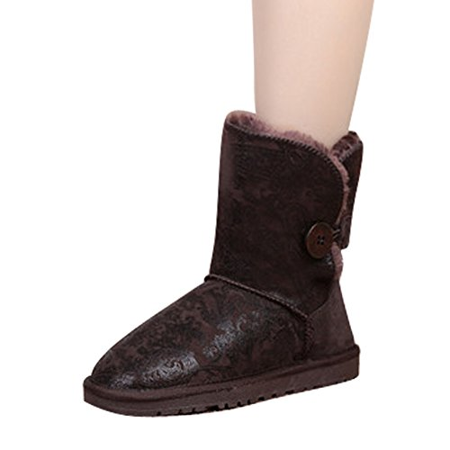 Fur Leather Genuine Flower 8 Chocolate fereshte Boots Trim Multiful Unisex Printing Winter 4O0WYBq51