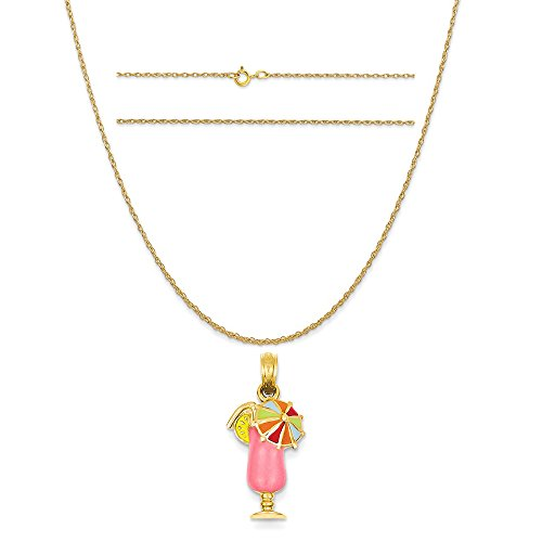 14k Yellow Gold Pink Enameled Tropical Drink Pendant on 14K Yellow Gold Rope Chain Necklace, 20