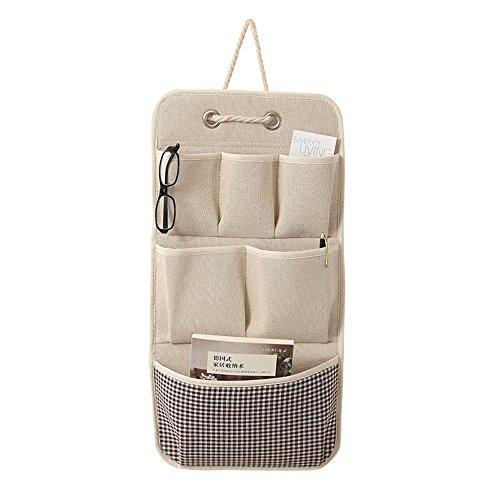 KINGSUNG Hanging Storage Bag Cotton Linen Wall Door Closet Storage Organizer with 6 Pockets(Color Random) by KINGSUNG