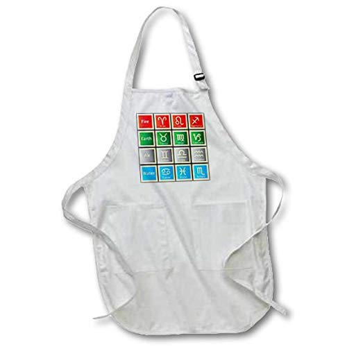 with Pockets 22 x 30 White 3D Rose Image of Astrology Chart Words and Symbols Full Length Apron