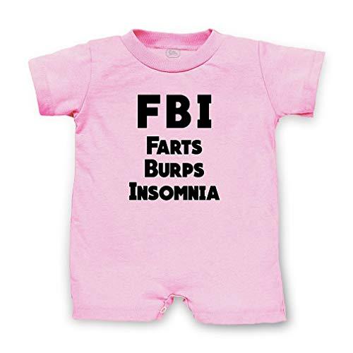Fbi Romper - FBI Farts Burps Insomnia Short Sleeve Taped Neck Boys-Girls Cotton Infant Romper Jersey Tee - Soft Pink, 12 Months