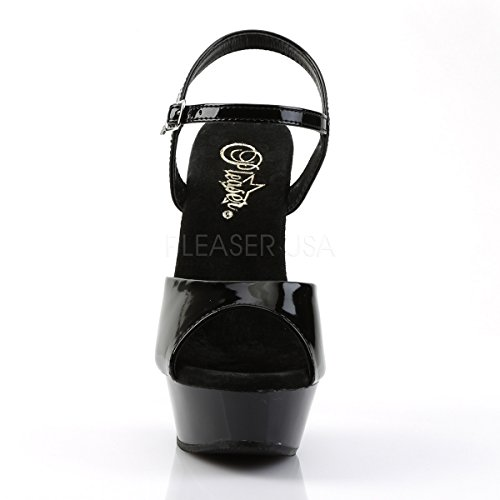 PleaserUSA Damen Gogo Platform High Heels Diamond-609 Pole Dance Disco Party Lack Schwarz