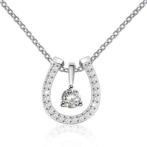 ACJNA 925 Sterling Silver Lucky Horseshoe with CZ Cute U Pendant Necklace Jewelry (DIY Horseshoe Necklace) ()