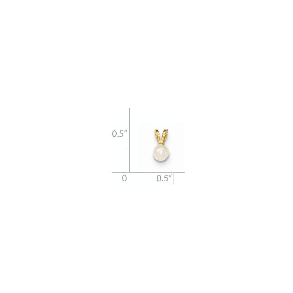 Mia Diamonds 14k Yellow Gold Gold 4-5mm Round White FW Cultured Pearl Pendant