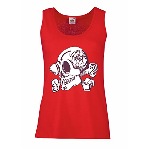 lepni.me Womens Tank Tops Great Tattoo Inspired Flower Detailed Skull and Bones Motif (X-Large Red Multi Color)