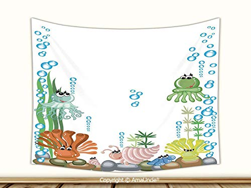 AmaUncle 3D Wall Tapestry for Bedroom,Aquarium with Seashell Octopus Stones Water Bubbles Funny Cartoon Illustration Tapestries from, 80Wx60L Inch,Modern Design Decorative for All Seasons