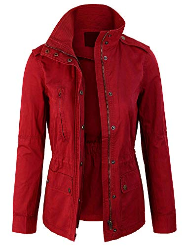 KOGMO Womens Zip Up Military Anorak Safari Jacket Coat -L-RED -