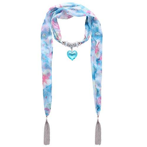 LERDU Gift Idea Blue Flower Pattern Skinny Scarf Necklace for Women Long Heart Pendant jewelry Accessories Ladies,Blue Heart,One Size