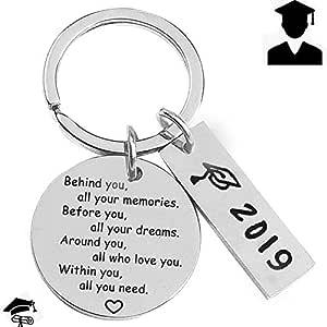 2019 Graduación Llavero, Migavenn Llaveros Anillo Regalos con Colgantes para niños Niñas Estudiantes de Secundaria Superior Universidad Estilo A