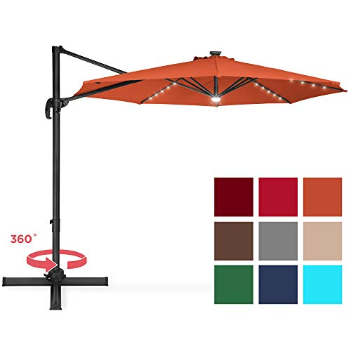 Best Choice Products 10-Foot Solar LED 360 Degree Aluminum Polyester Cantilever Offset Market Patio Umbrella Shade w/Easy Tilt and Smooth Gliding Handle, Orange (Furniture Sunbrella Patio Commercial)