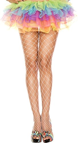 One Size WHITE Seamless BIG Diamond Net Pantyhose (White Fishnets)