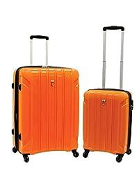 Delsey Volume Hardside Lightweight Luggage 18 & 24 inches Spinner Set (2 Pieces) - Orange Color