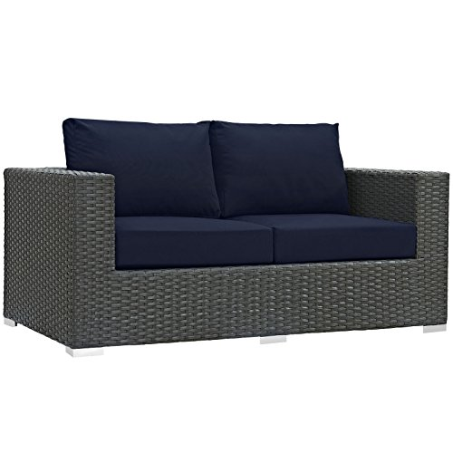 Modway Sojourn Outdoor Patio Rattan Loveseat With Sunbrella Brand Navy Canvas Cushions by Modway
