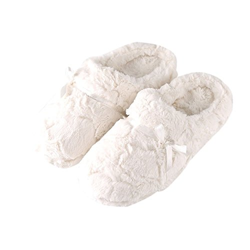 (TOFERN Slippers Ultra Soft Comfy Fluffy Warm Satin Memory Foam Non Slip Sole Winter (9-10 B(M) US,)