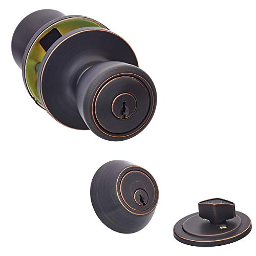 AmazonBasics Entry Door Knob and Deadbolt – Bell – Oil Rubbed Bronze