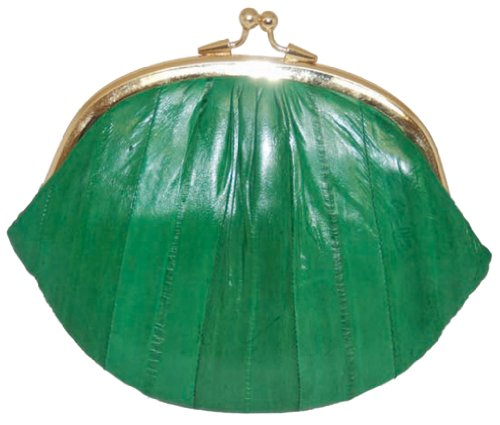 Eel Skin Purse (New Double EEL Skin Change Purse Green #E10-BIG)