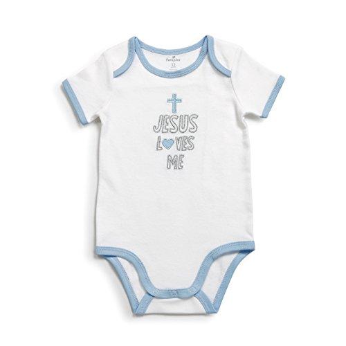 DEMDACO Blue Jesus Loves Me Baby Boy's 0-12 Months Cotton Snapshirt Onesie