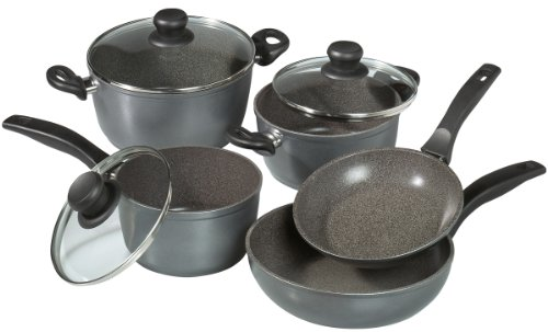 STONELINE 6588 Cookware set with glass lids (set of 8), 23.23 x 8.46 x 14.76 inch, Anthracite