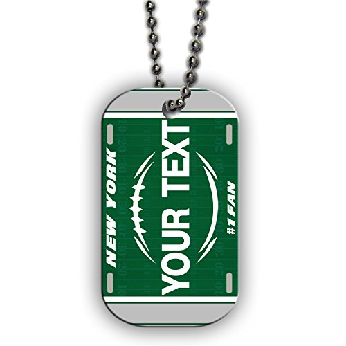 BleuReign(TM) Personalized Custom Name Football New York Green and White License Plate Single Sided Metal Military ID Dog Tag with Beaded ()